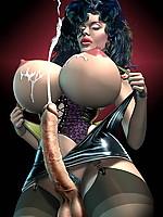 futanari dick girl with big tits